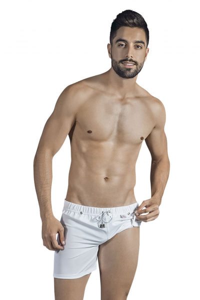 0631 Double Style Swim Trunks Color White