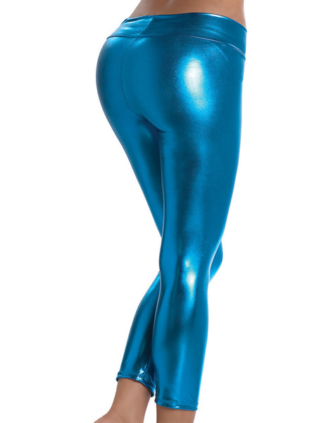 1011 Stretch Metallic Foil Leggings Color Electric Blue