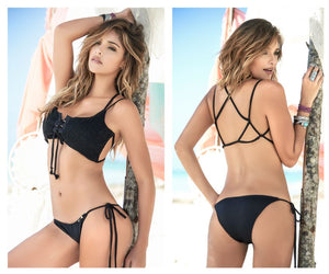 6864 Back Clossure Ties On Front Two Piece Swimsuit Color Black
