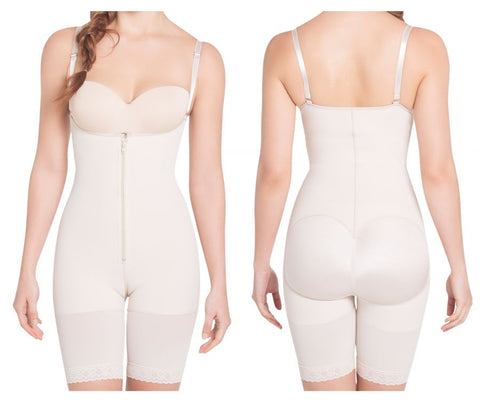 1007 High Compression Braless Mid-Thigh Bodysuit Color Nude