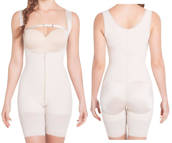 1008 High Compression Wide Straps Mid-Thigh Bodysuit Color Nude