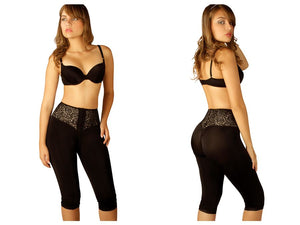 510 Dana Capri Thigh Slimmer w/ Front Closure Color Black