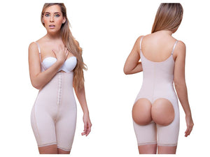 915 Amelie Open Bottom Mid thigh Shaper w/ Front Closure Color Nude