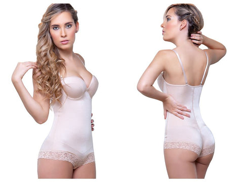 916 Judith Shaping Bodysuit w/ Bra in Lace Boyshort Color Nude