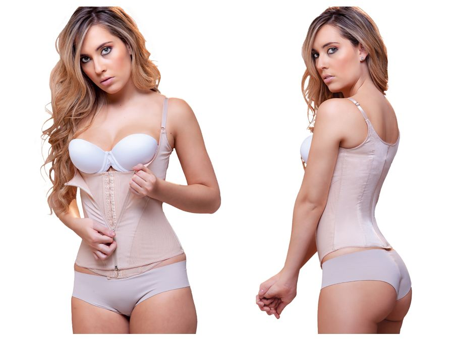 940 Candice Double Layer Waist Cincher w/ Zipper Color Nude