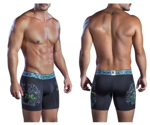 51401 Printed Microfiber Boxer Briefs Color Black