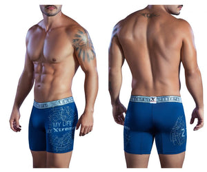 51401 Printed Microfiber Boxer Briefs Color Blue