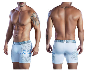 51401 Printed Microfiber Boxer Briefs Color White