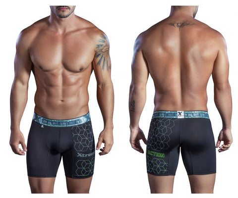 51402 Printed Microfiber Boxer Briefs Color Black