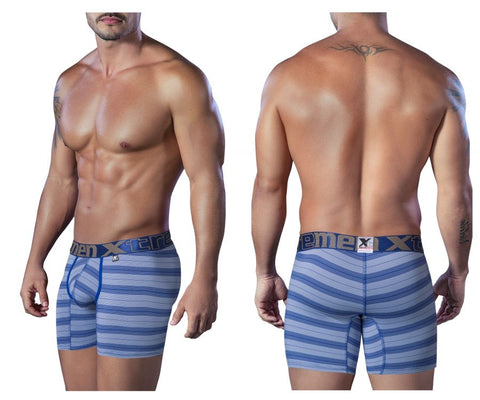 51406 Microfiber Piping Boxer Briefs Color Blue