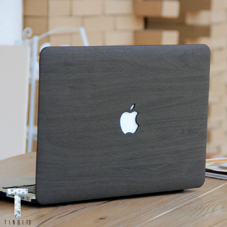 Dark Grey Wood Macbook Case