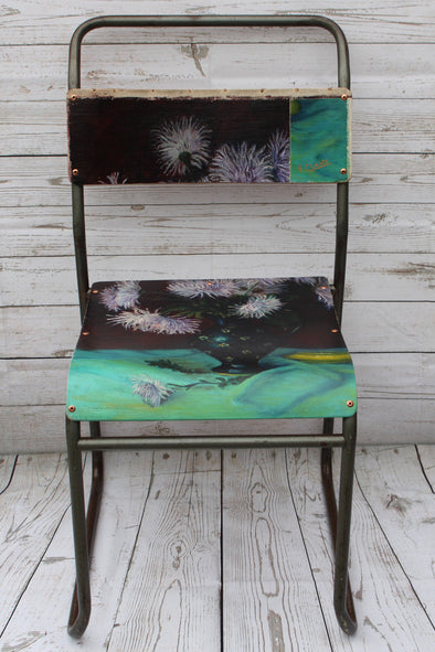 "Oil Canvas Painting on Vintage Industrial School Chair ""Deli Star Flowers"""