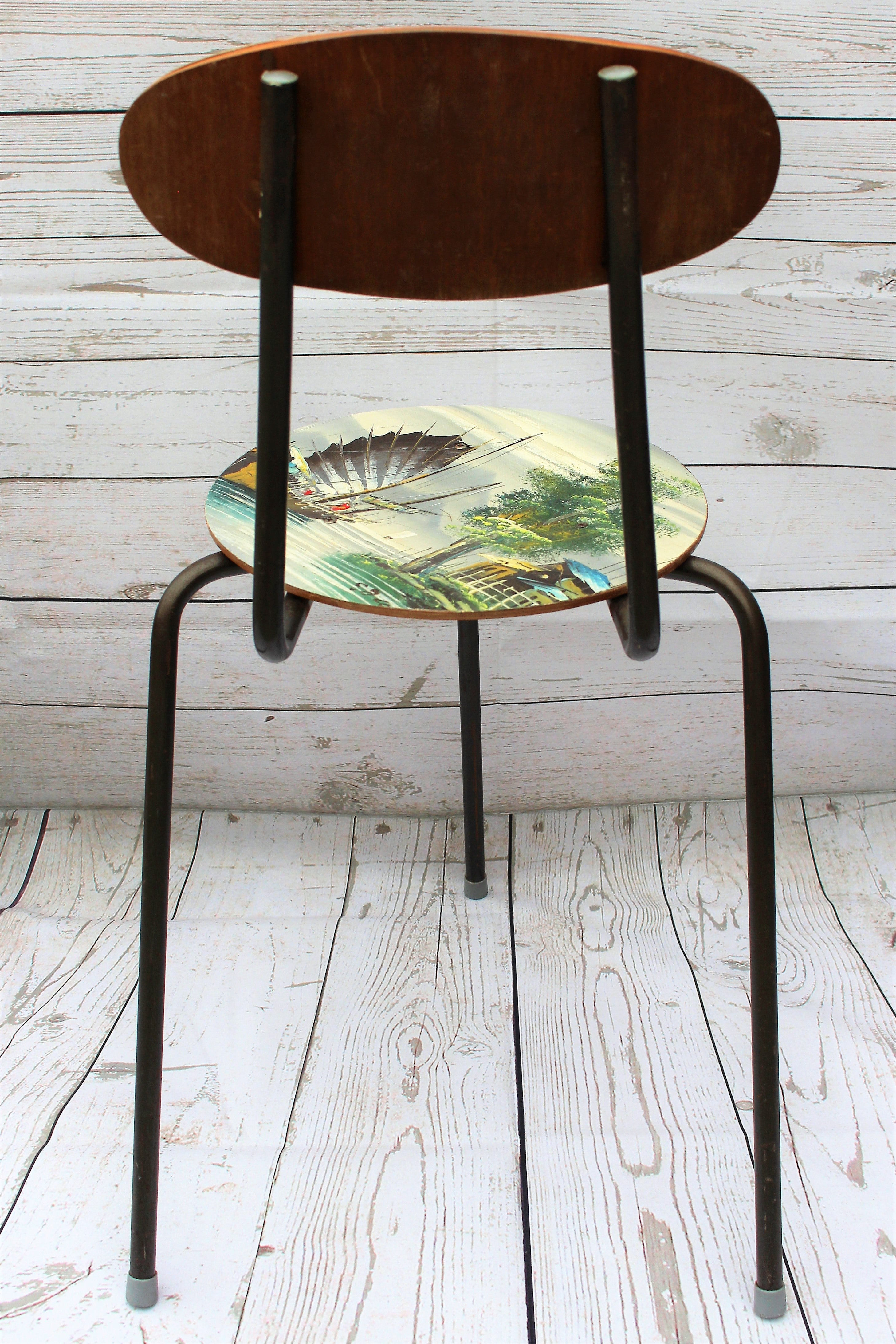 Vintage 3 Legged Chair With Oil Painting