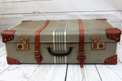 Vintage Leather and Hardboard Suitcase