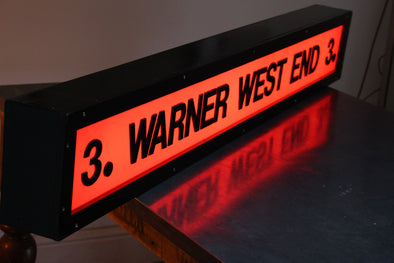 Vintage Warner West End Cinema Illuminated Sign - Screen 3