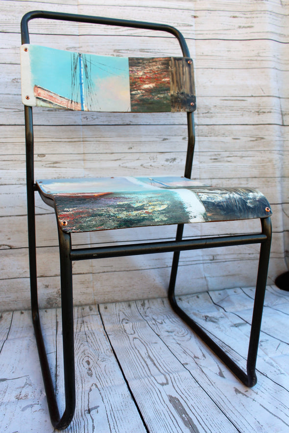 vintage school chair refurbished with different oil canvas paintings with images of the sea with lovely blue colours
