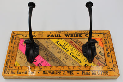 Yardstick Ruler Double Coat Hook Handmade (small)