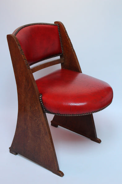 Vintage Art Deco Red Leather and oak Chair
