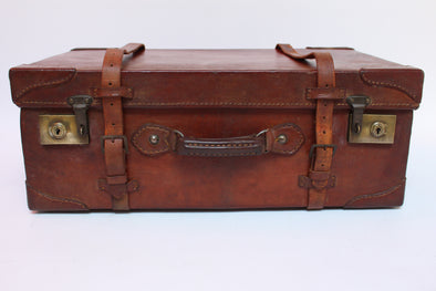 Vintage Full Leather Solid Suitcase with brass fittings