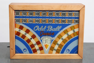 Vintage 1938 Oddball Junior Pinball Backglass Lightbox