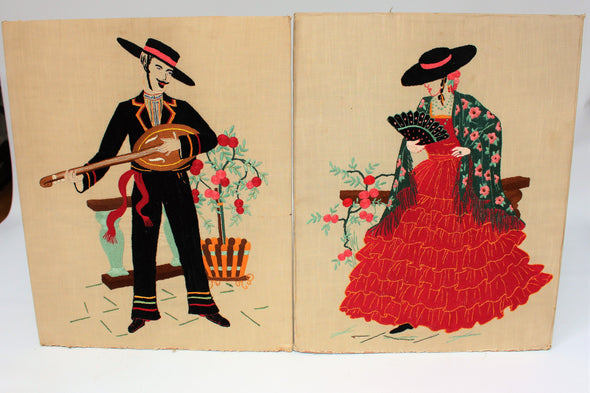Vintage Tapestry Needlepoint Wall Art Spanish Couple