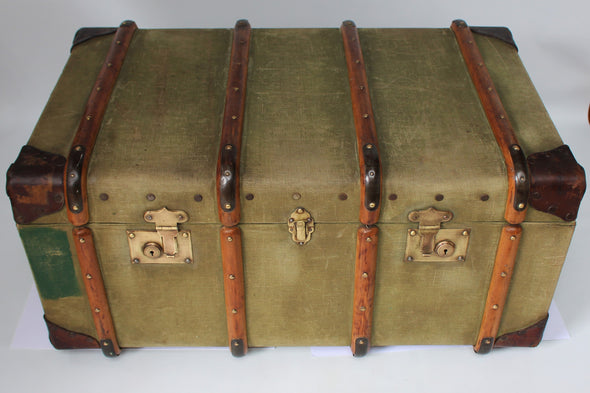 Vintage 1950s Travel Trunk Green Canvas Wood Banded Brass Hardware