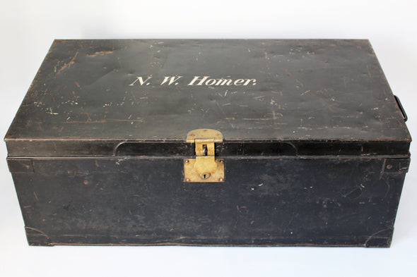 Vintage Army Black Metal Travel Trunk Storage