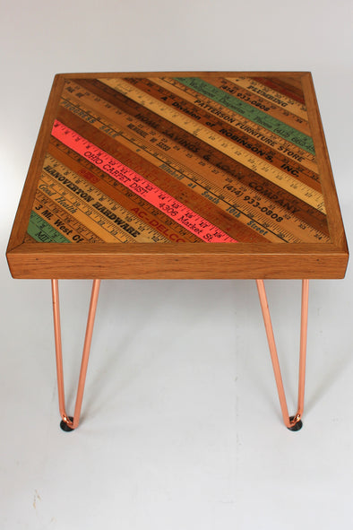US Yardstick Ruler Square Side Table with Copper Hairpin Legs