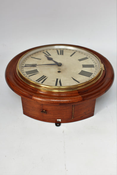 Antique Ansonia Walnut Railway Station / School Wall Clock
