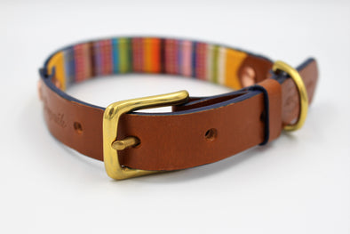 "Handmade Leather Dog Collar Small - London Deckchair Range ""Regents Park"""