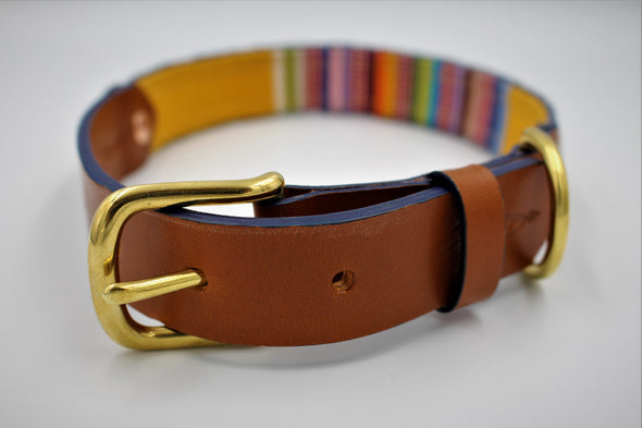 "Handmade Leather Dog Collar Medium London Deckchair Range ""Regents Park"""
