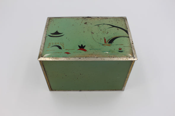 Vintage Brass and Tin Enamelled Cigarette Box with Japanese Art