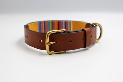 "Handmade Leather Dog Collar Large - London Deckchair Range ""Regents Park"""