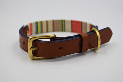 "Handmade Leather Dog Collar Small - London Deckchair Range ""St James Park"""