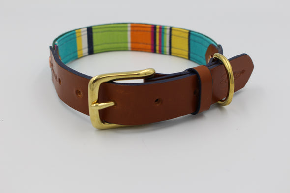 "Handmade Leather Dog Collar Medium London Deckchair Range ""Hampstead Heath"""
