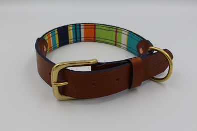 "Handmade Leather Dog Collar Large - London Deckchair Range ""Hampstead Heath"""