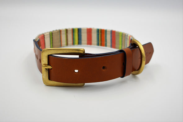 "Handmade Leather Dog Collar Medium London Deckchair Range ""St James Park"""