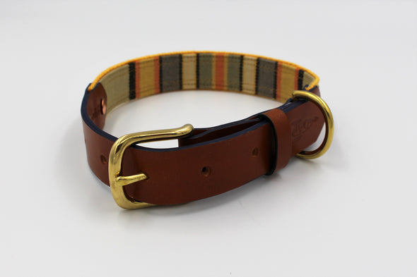 "Handmade Leather Dog Collar Medium London Deckchair Range ""Hyde Park"""