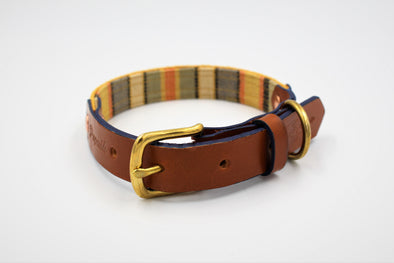 "Handmade Leather Dog Collar Small - London Deckchair Range ""Hyde Park"""
