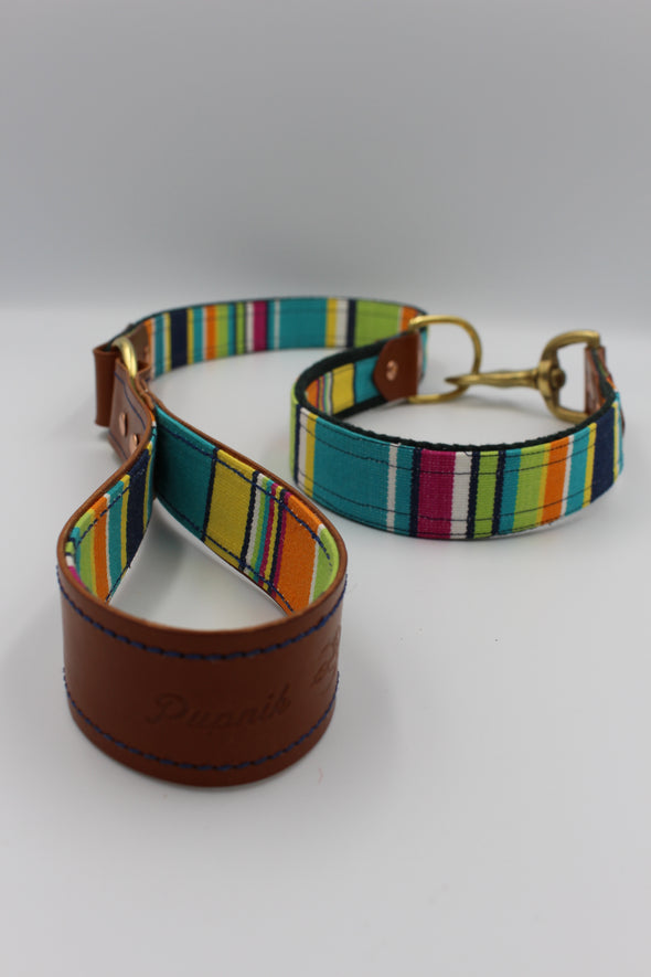 "Handmade Leather Dog Leash Lead Medium Large - London Deckchair Range ""Hampstead Heath"""