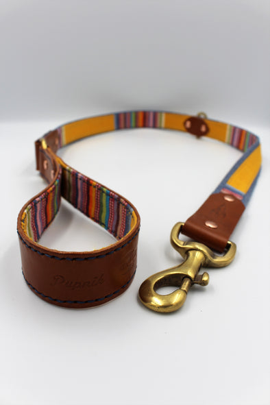 "Handmade Leather Dog Leash Lead Medium Large - London Deckchair Range ""Regents Park"""