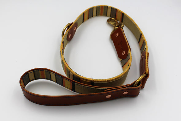 "Handmade Leather Dog Leash Lead Medium Large - London Deckchair Range ""Hyde Park"""