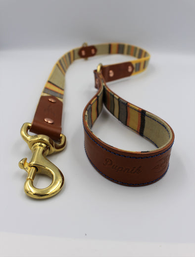 "Handmade Leather Dog Leash Lead Small / Medium - London Deckchair Range ""Hyde Park"""