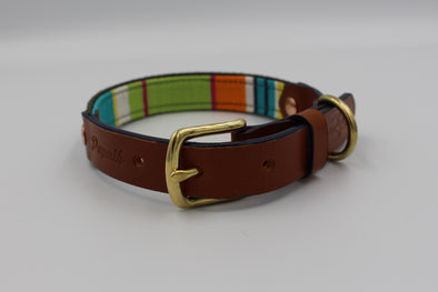 "Handmade Leather Dog Collar Small London Deckchair Range ""Hampstead Heath"""