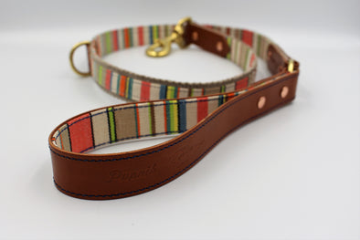 "Handmade Leather Dog Leash Lead Small / Medium - London Deckchair Range ""St James Park"""