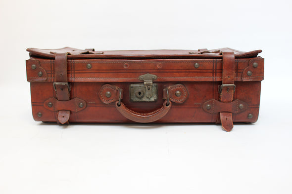 Vintage 1950s Full Leather Suitcase - Lovely Condition