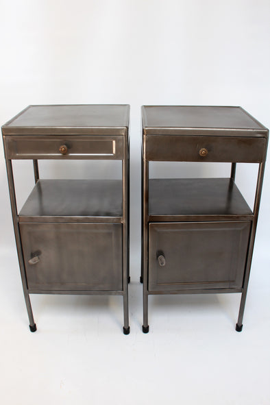 Pair of Vintage Industrial Metal Cabinets / Bedside Tables