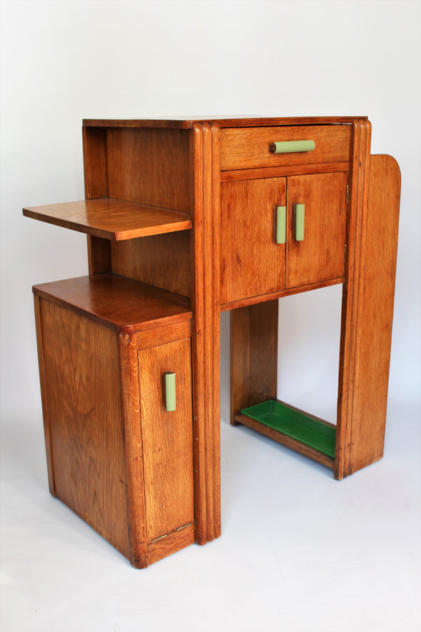 Lovely 1930s Art Deco Oak Hall Cabinet