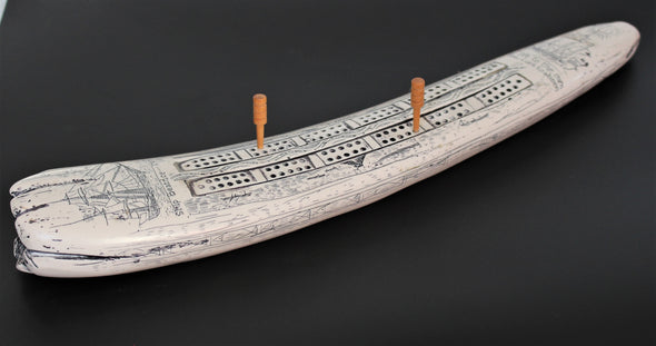 Vintage Faux Scrimshaw - Resin - 1960s Cribbage Game