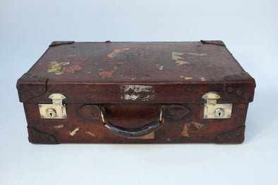 Beautiful Vintage Leather Suitcase with Brass Fixings